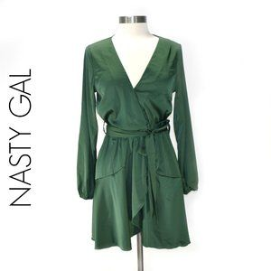 NASTY GAL Green Long Sleeve Wrap Ruffle Mini Dress